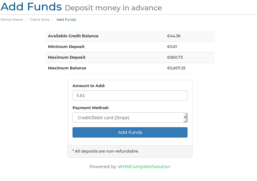 Credit balance in add funds