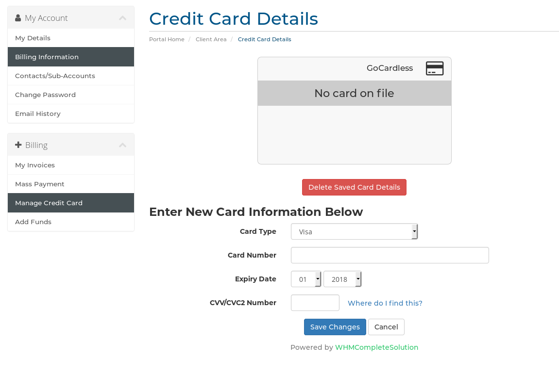 screenshot of card page