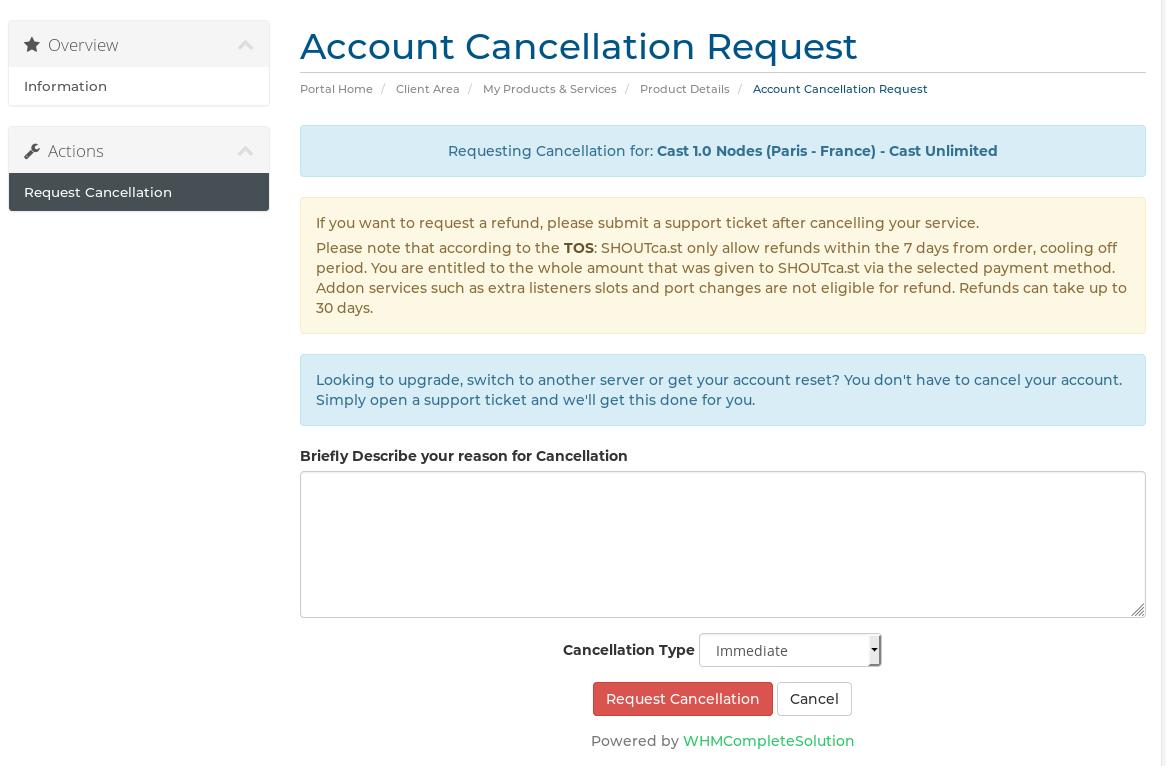 request cancelation screen