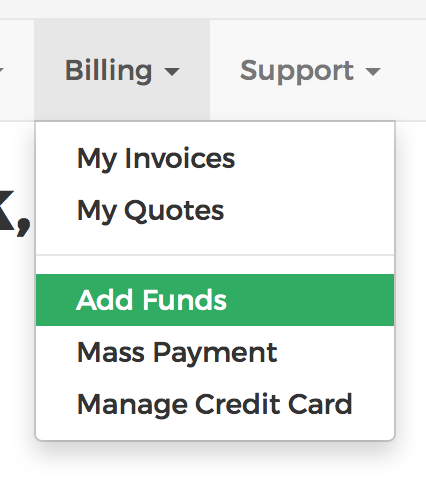 add funds in the client area menu